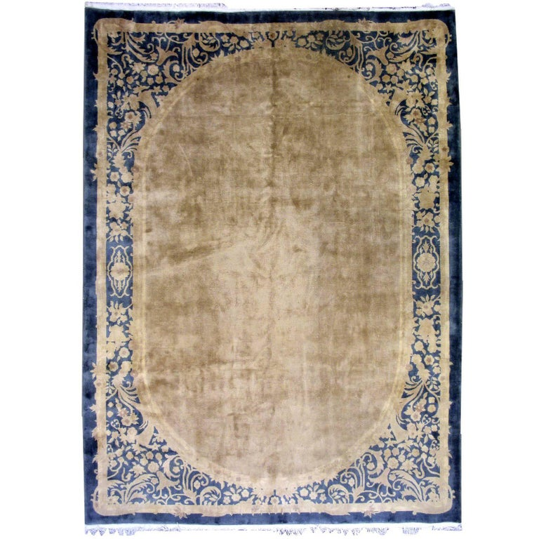 Handmade Antique Chinese Art Deco Rug, 1930s, 1L10 For Sale