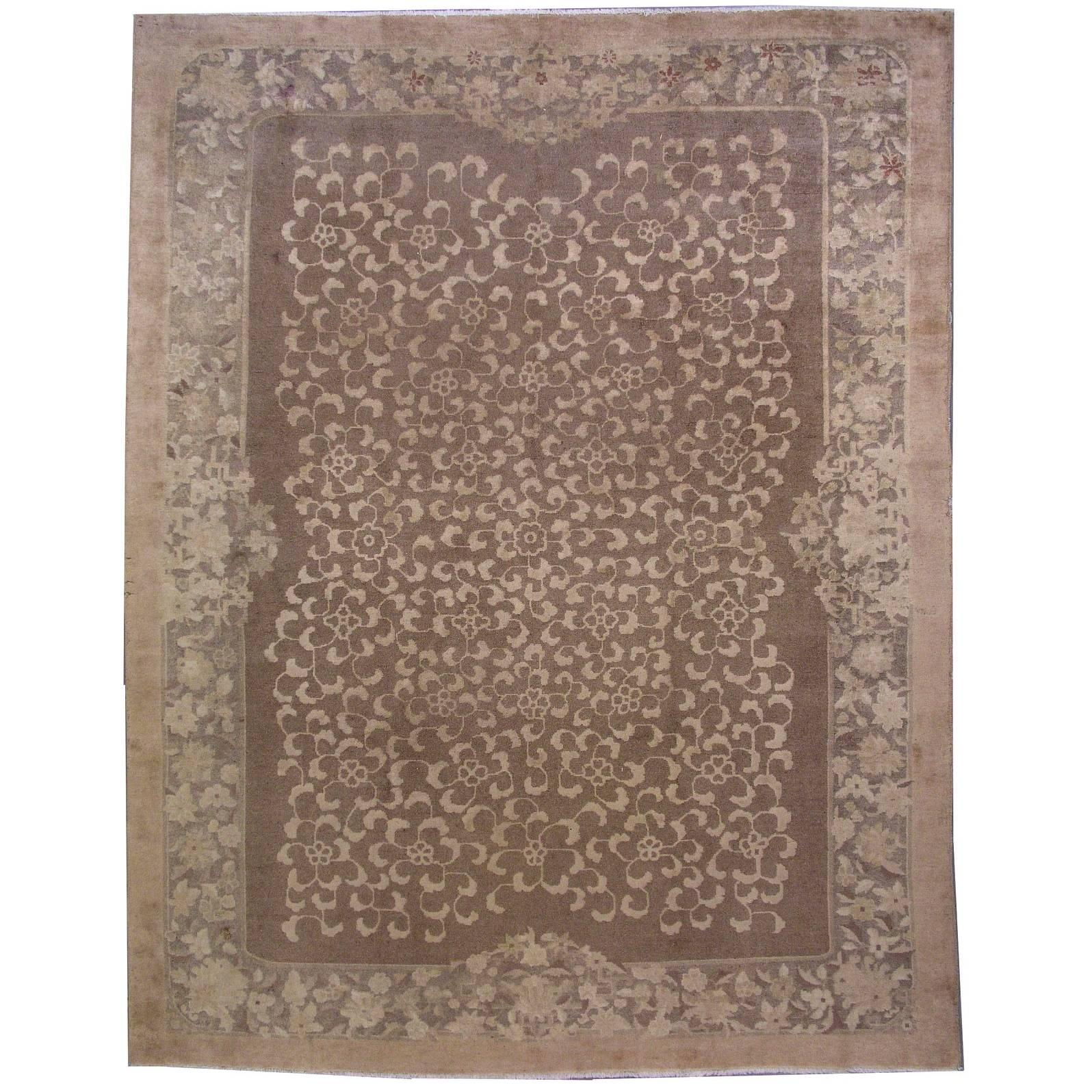 Handmade Antique Chinese Fete Rug, 1910s, 1L03