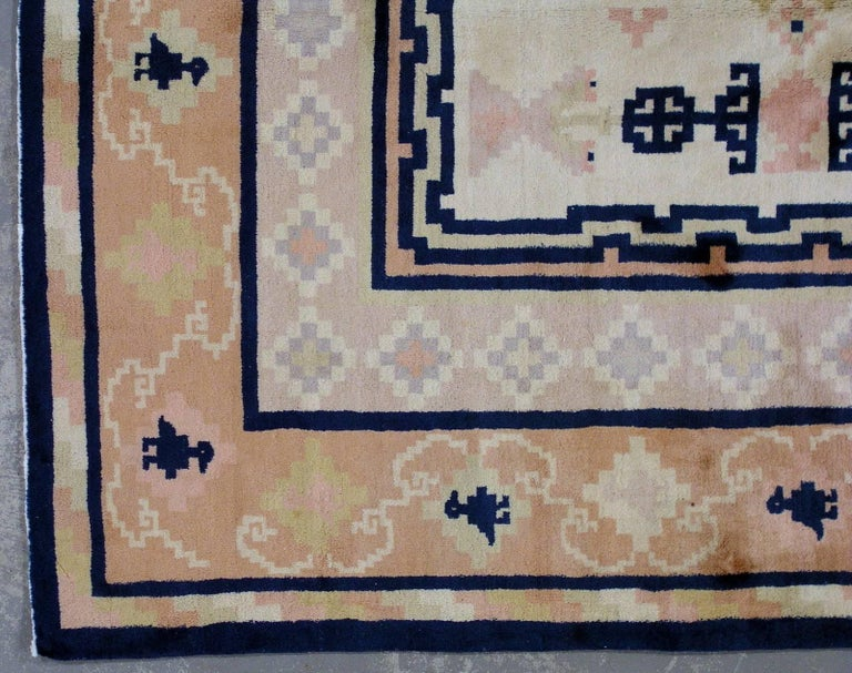 20th Century Handmade Antique Chinese Fete Rug, 1930s, 1L07 For Sale