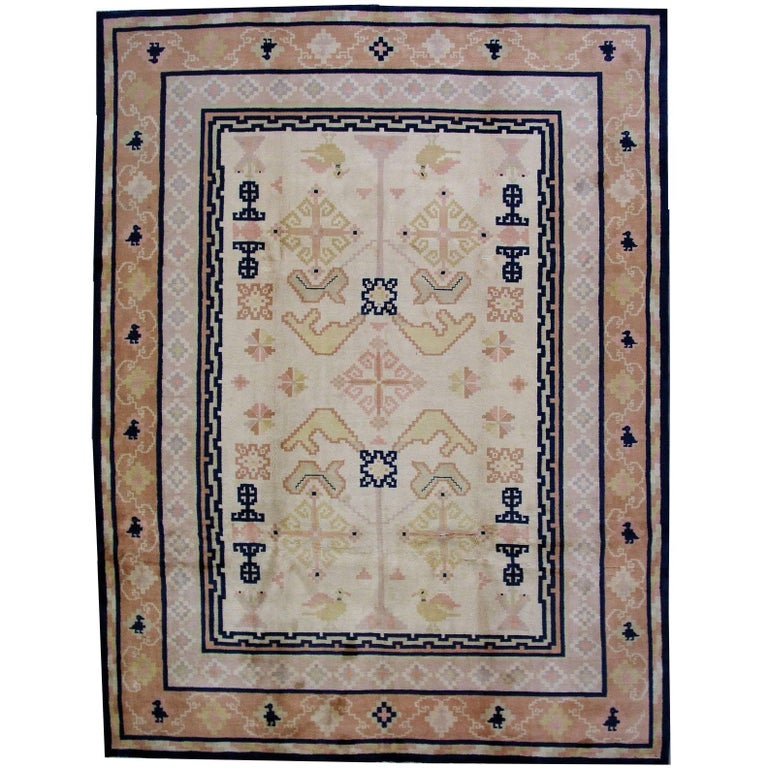 Handmade Antique Chinese Fete Rug, 1930s, 1L07 For Sale