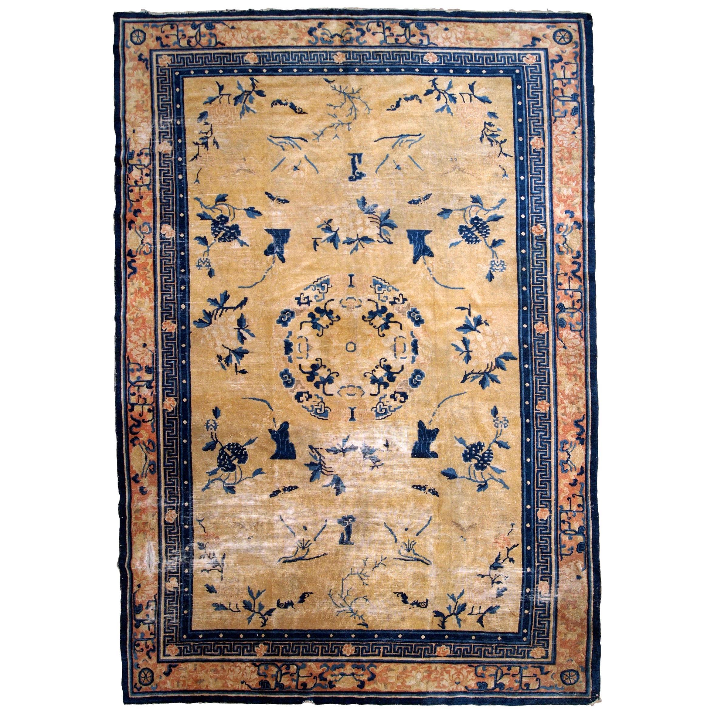 Handmade Antique Chinese Ningsha Rug, 1870s, 1B799