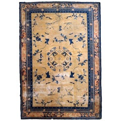 Handmade Antique Chinese Ningsha Rug, 1870s, 1B799