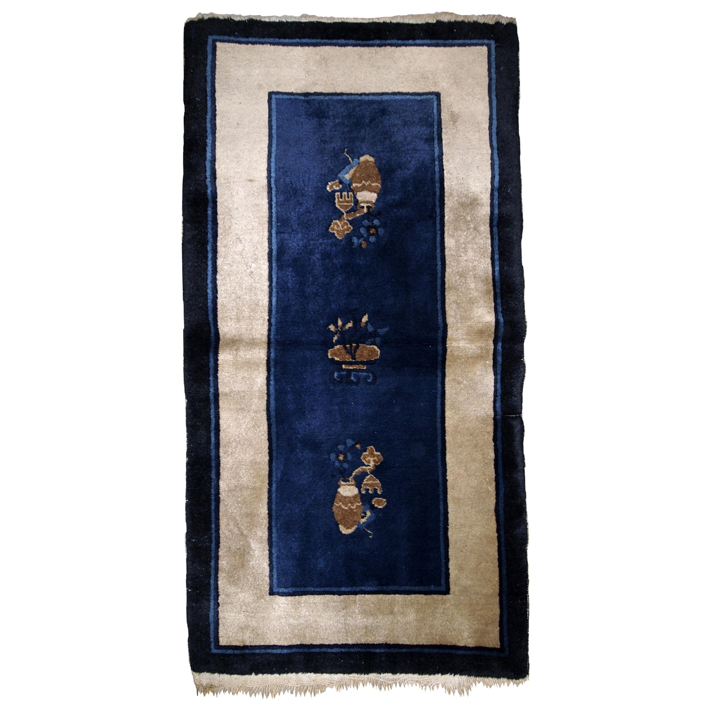 Handmade Antique Chinese Peking Rug, 1900s, 1B635