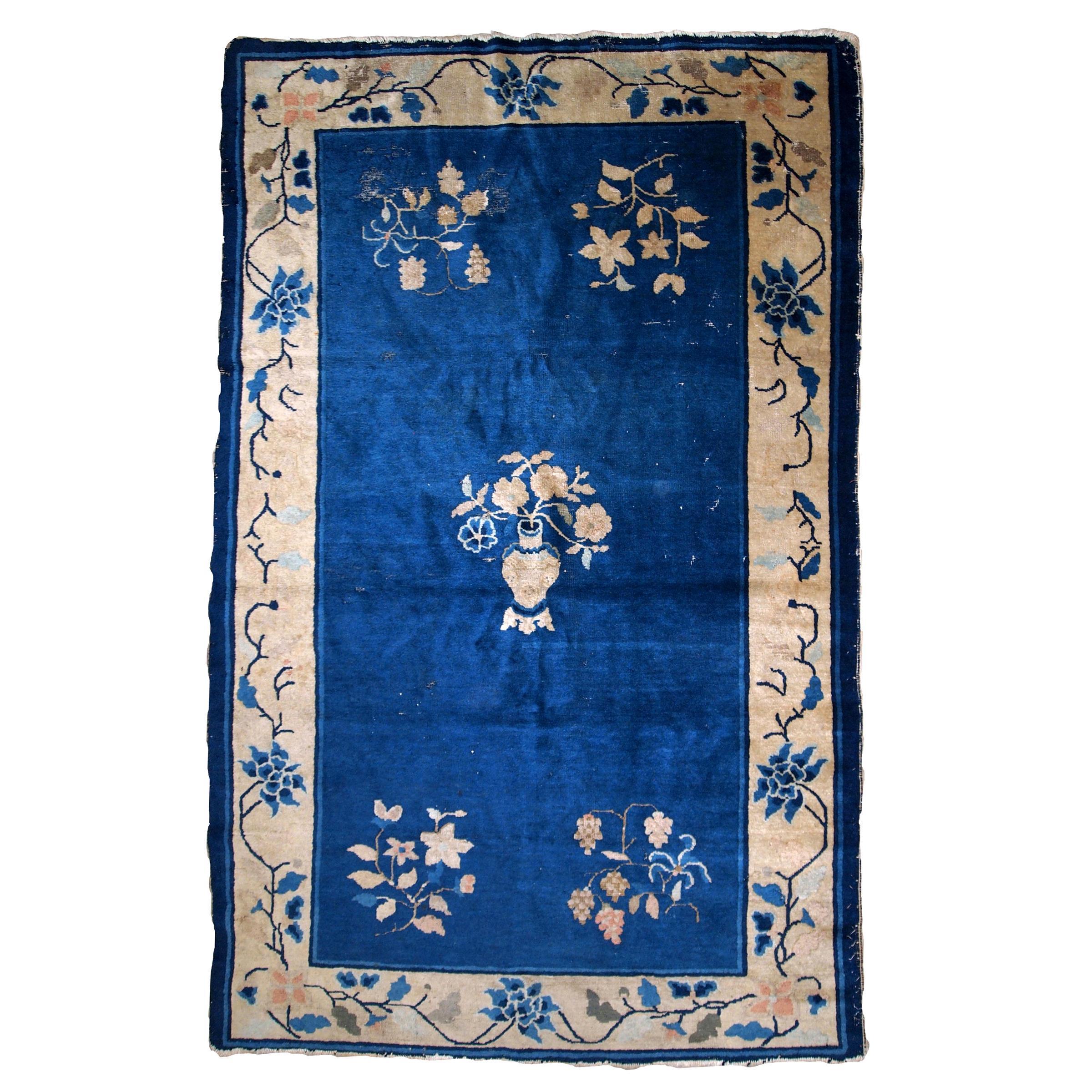 Handmade Antique Chinese Peking Rug, 1900s, 1B851