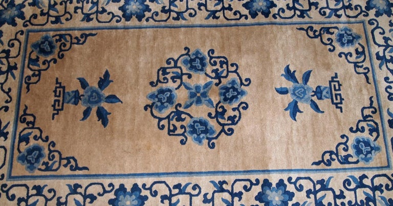 Hand-Knotted Handmade Antique Chinese Peking Rug, 1940s, 1B854 For Sale