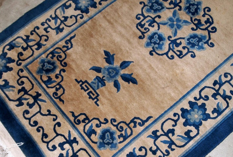 Handmade Antique Chinese Peking Rug, 1940s, 1B854 In Good Condition For Sale In Bordeaux, FR
