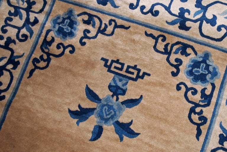 Wool Handmade Antique Chinese Peking Rug, 1940s, 1B854 For Sale