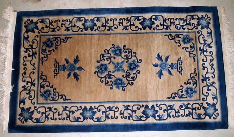 Handmade Antique Chinese Peking Rug, 1940s, 1B854 For Sale 1