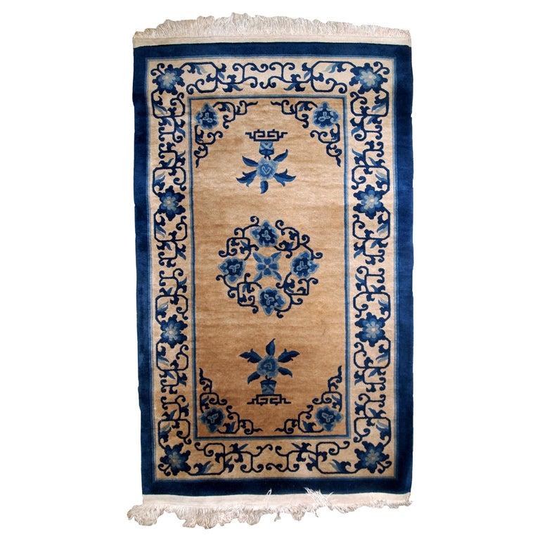 Handmade Antique Chinese Peking Rug, 1940s, 1B854 For Sale