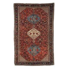 Handmade Antique Collectible Khamseh Style Rug, 1870s, 1B189