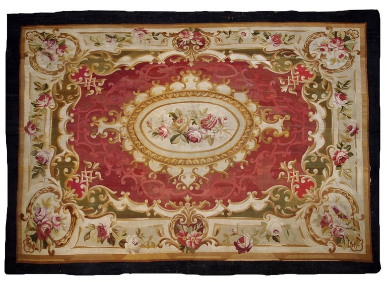 Handmade Antique French Abussan Flat Weave 1860s For Sale
