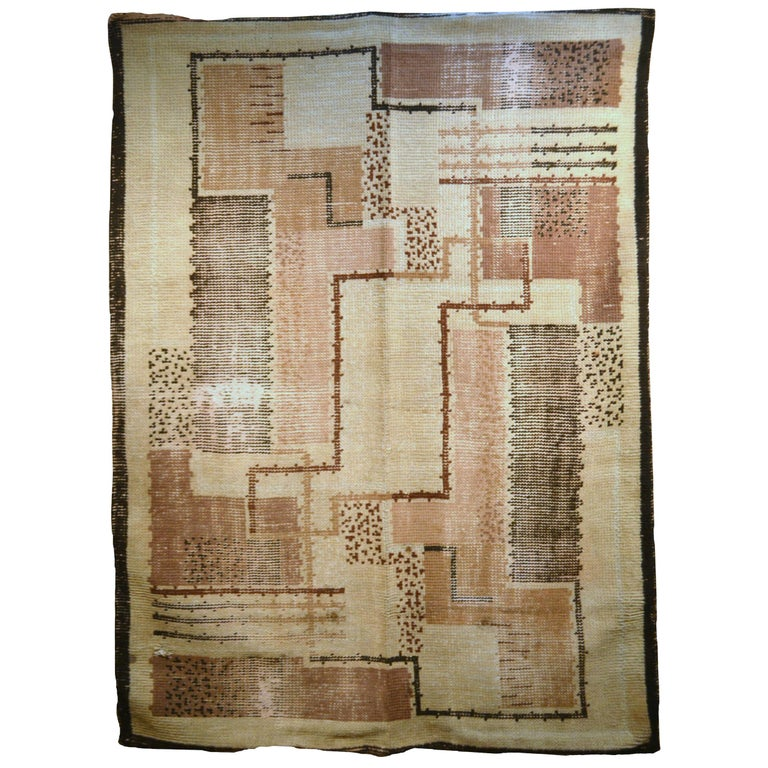 Handmade Antique French Art Deco Rug, 1930s, 1P02 For Sale