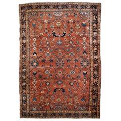 Handmade Antique Hamadan Style Rug, 1920s, 1B796
