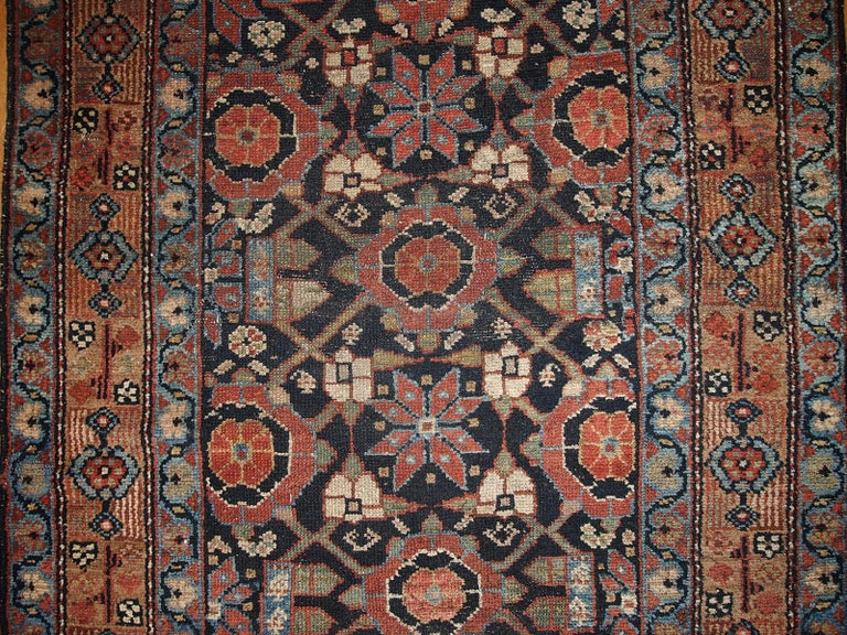 Hand-Knotted Handmade Antique Hamadan Style Runner, 1900s, 1B438 For Sale