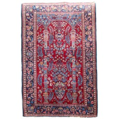 Handmade Antique Kashan Style Rug, 1920s, 1Q0198
