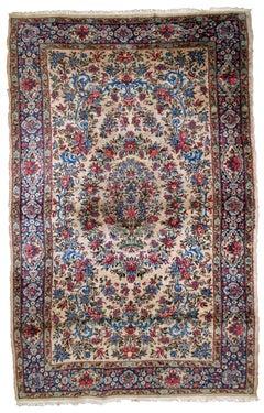 Handmade Antique Kerman Style Rug, 1920s, 1B780