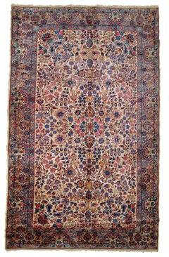 Handmade antique Kerman Style Rug, 1920s, 1B781