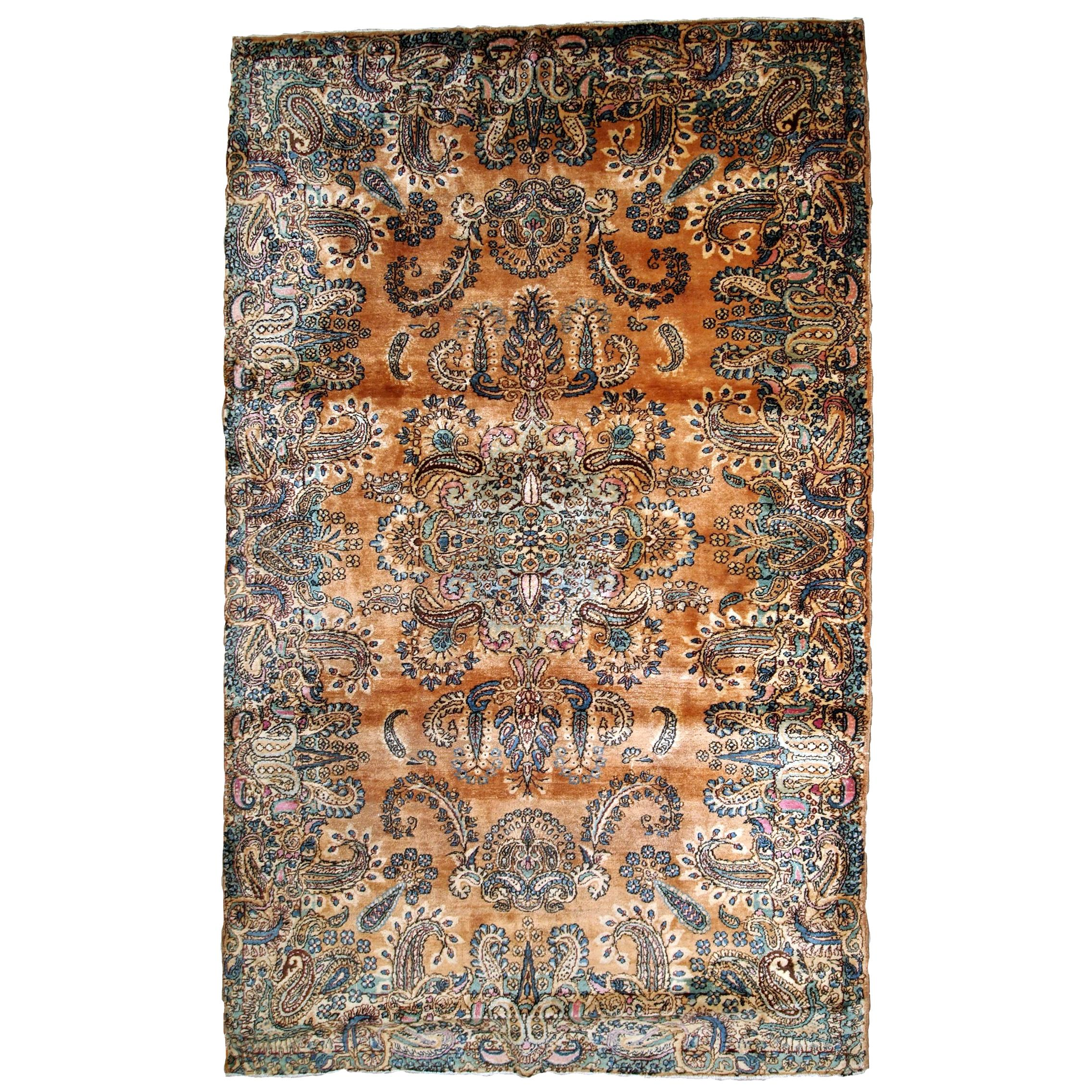 Handmade Antique Kerman Style Rug, 1920s