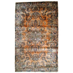 Handmade Antique Kerman Style Rug, 1920s