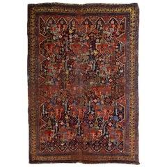 Handmade Antique Khamseh Style Rug, 1840s, 1B663