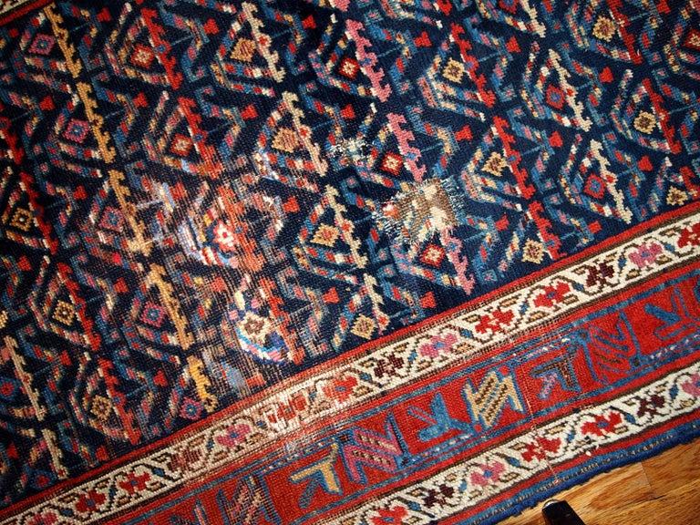Asian Handmade Antique Kurdish Style Distressed Runner, 1900s, 1B442 For Sale