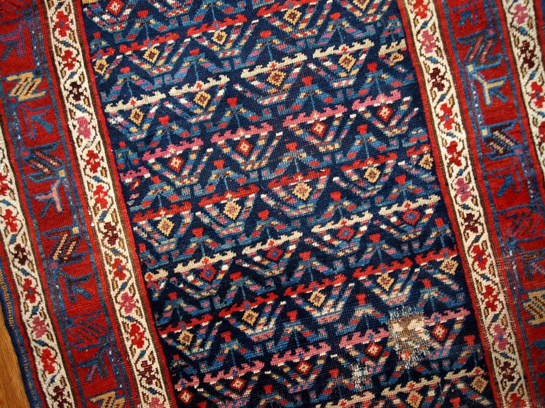 Hand-Knotted Handmade Antique Kurdish Style Distressed Runner, 1900s, 1B442 For Sale