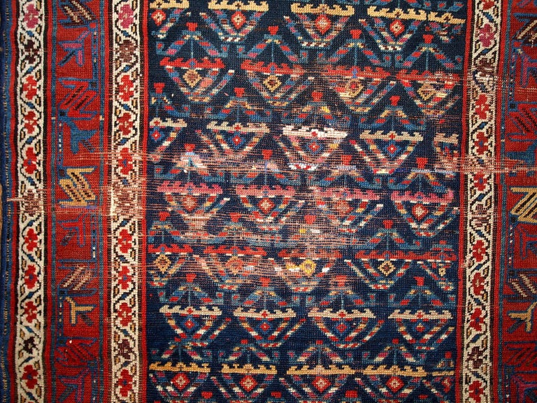 Handmade Antique Kurdish Style Distressed Runner, 1900s, 1B442 In Fair Condition For Sale In Bordeaux, FR
