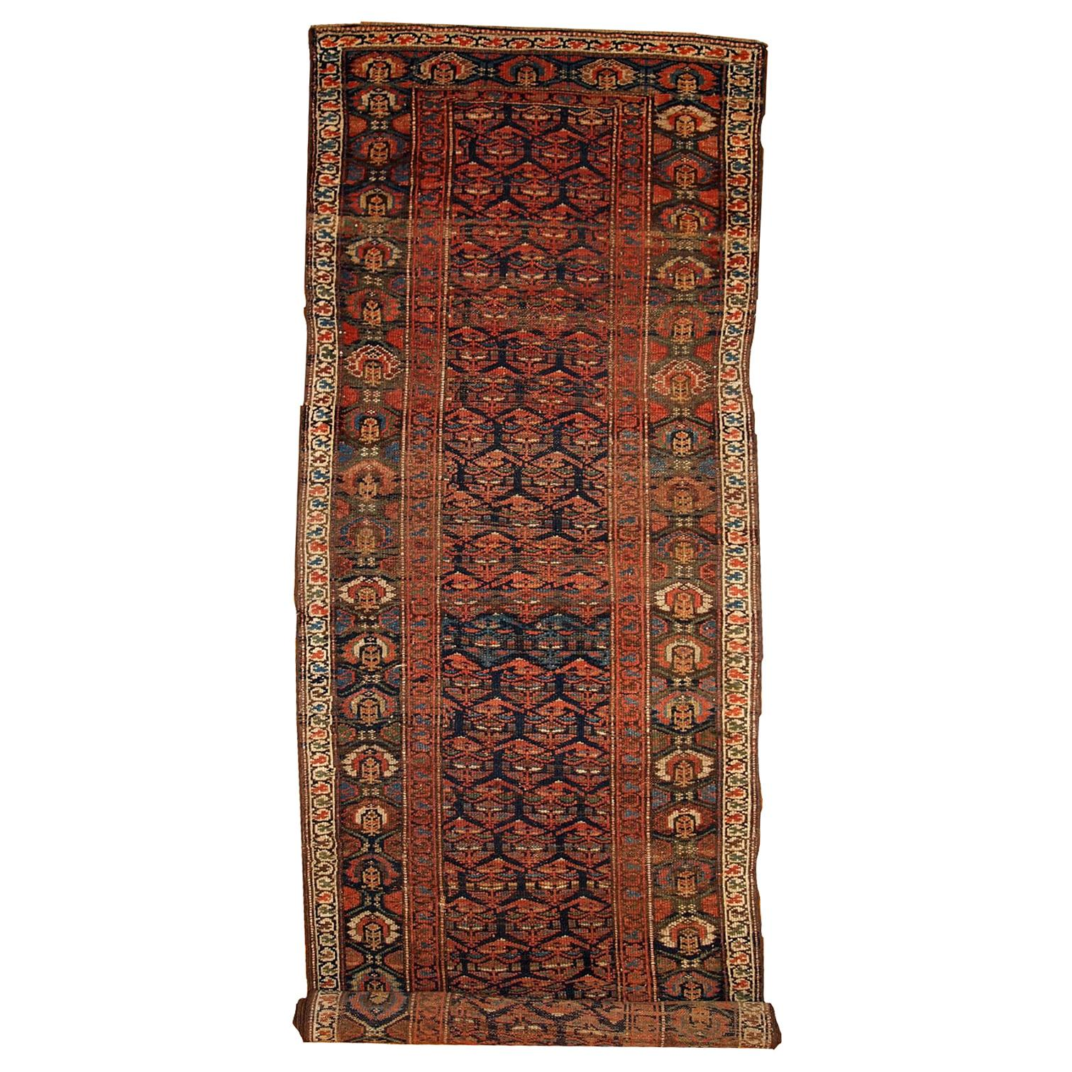 Handmade Antique Kurdish Style Runner, 1900s, 1B431