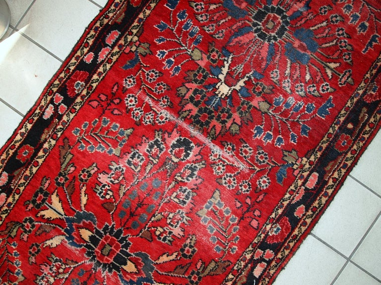 Hand-Knotted Handmade Antique Lilihan Style runner, 1910s, 1C452 For Sale