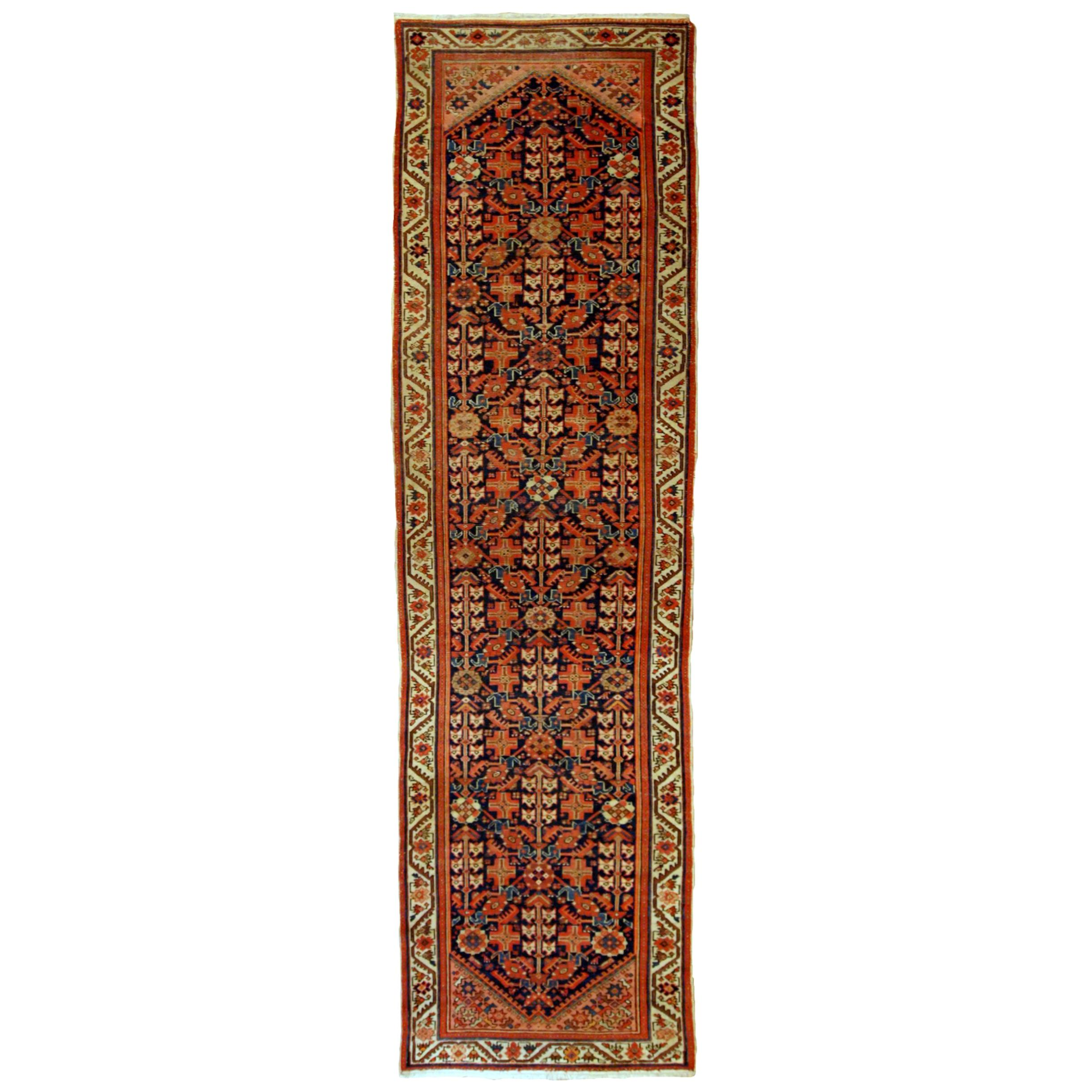 Handmade Antique Malayer Style Runner, 1900s, 1B690