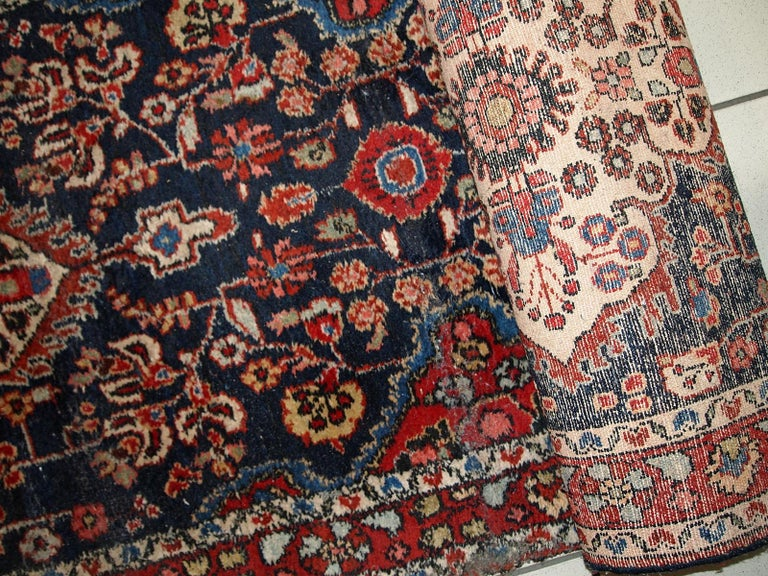 Indian Handmade Antique Malayer Style Runner, 1920s, 1C682 For Sale