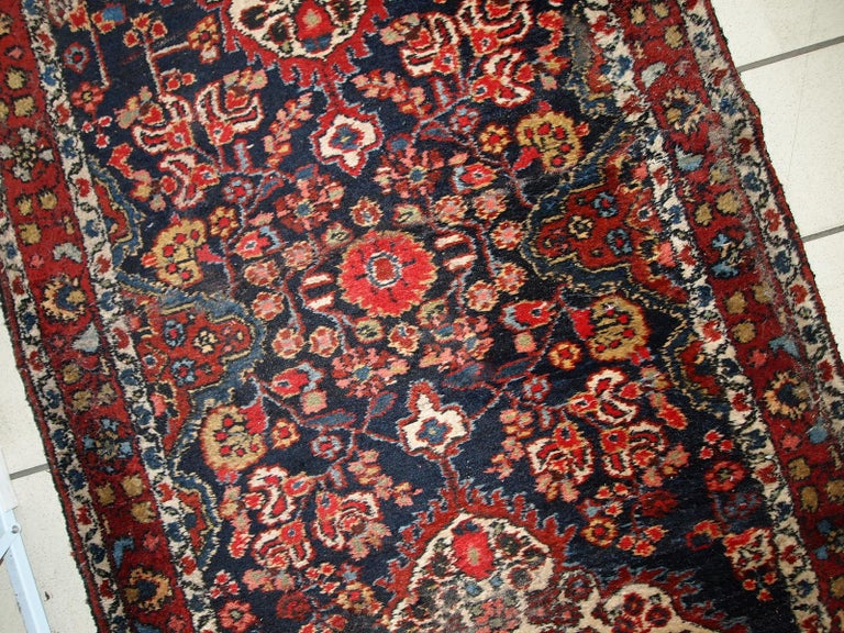 Hand-Knotted Handmade Antique Malayer Style Runner, 1920s, 1C682 For Sale