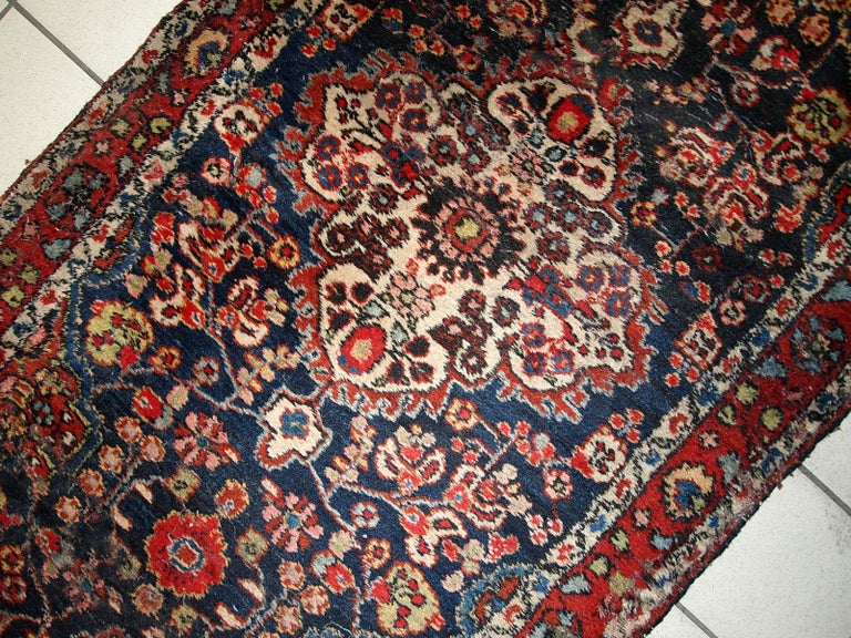 Wool Handmade Antique Malayer Style Runner, 1920s, 1C682 For Sale