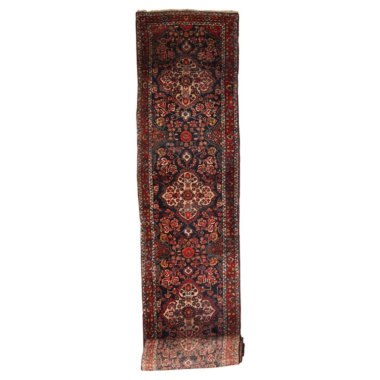 Handmade Antique Malayer Style Runner, 1920s, 1C682 For Sale
