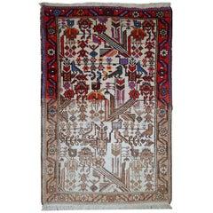 Handmade Antique Mashad Style Rug, 1930s, 1C522