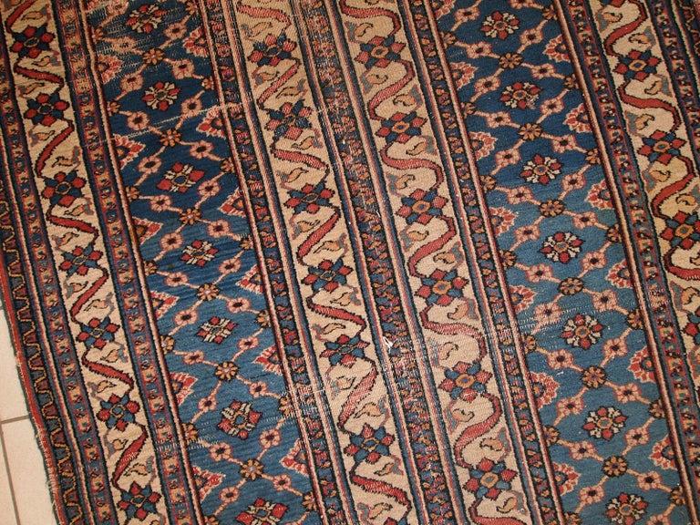 Handmade Antique Mashad Style Runner, 1900s, 1C587 For Sale 3