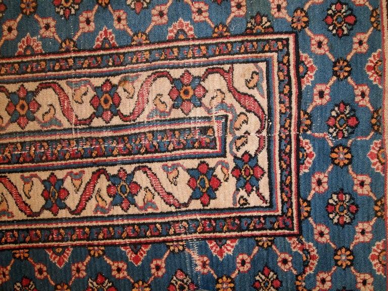Handmade Antique Mashad Style Runner, 1900s, 1C587 For Sale 4