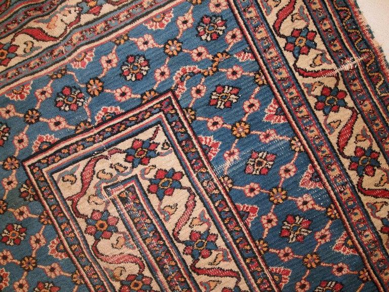 Handmade Antique Mashad Style Runner, 1900s, 1C587 For Sale 6