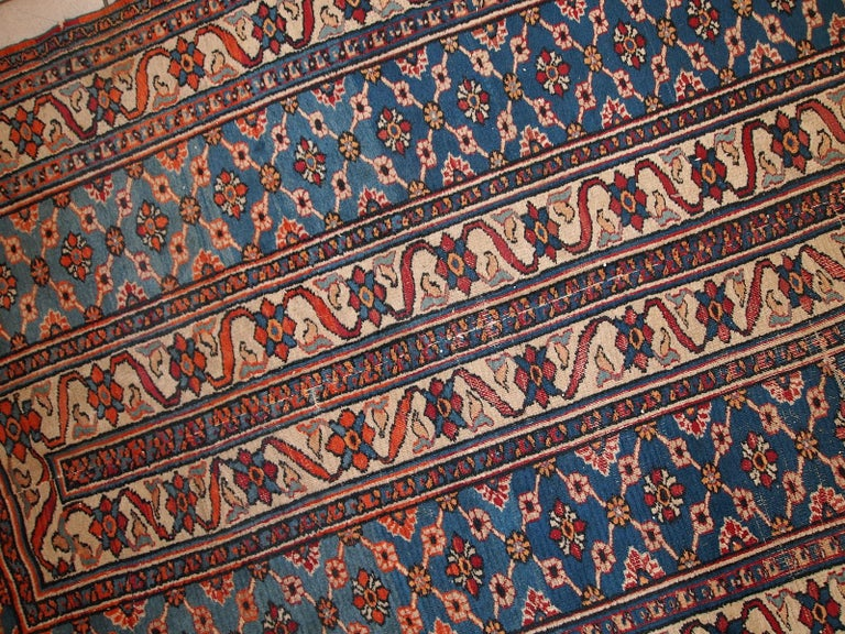 Hand-Knotted Handmade Antique Mashad Style Runner, 1900s, 1C587 For Sale
