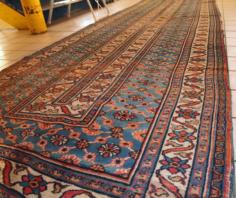 Handmade Antique Mashad Style Runner, 1900s, 1C587 In Distressed Condition For Sale In Bordeaux, FR