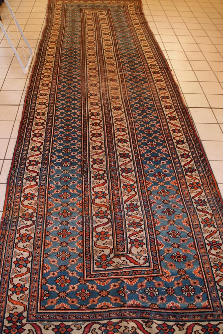 Early 20th Century Handmade Antique Mashad Style Runner, 1900s, 1C587 For Sale