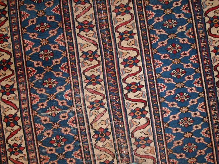 Wool Handmade Antique Mashad Style Runner, 1900s, 1C587 For Sale