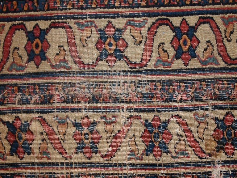 Handmade Antique Mashad Style Runner, 1900s, 1C587 For Sale 1