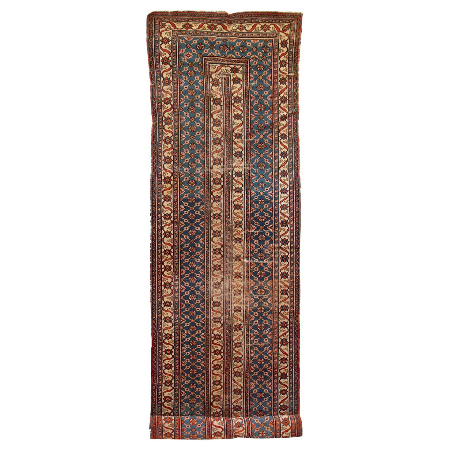 Handmade Antique Mashad Style Runner, 1900s, 1C587