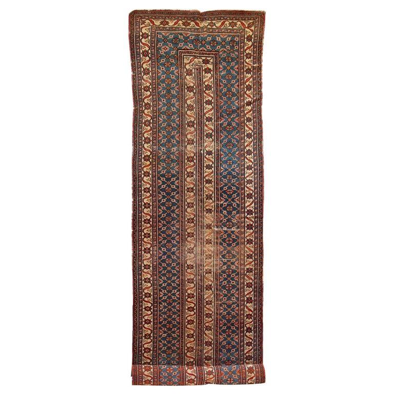 Handmade Antique Mashad Style Runner, 1900s, 1C587 For Sale