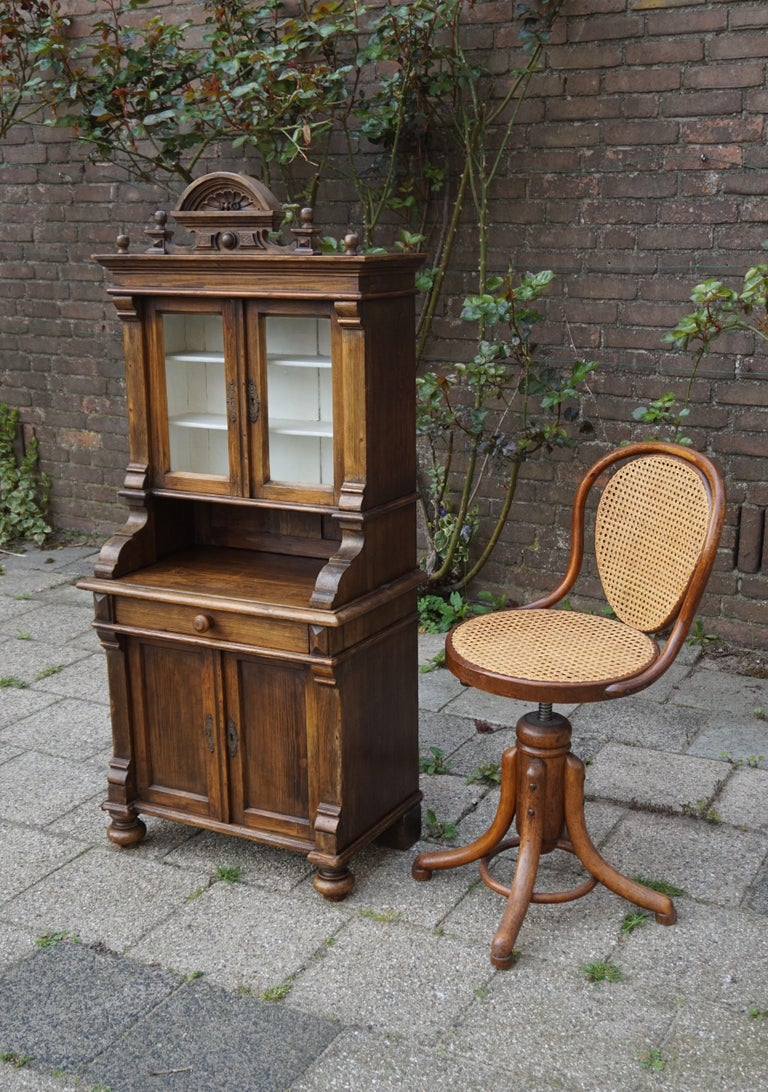 One of a kind, charming and small-size country house cabinet.  This handcrafted, antique cabinet was made for one of two reasons. It was either made as a scale model a sales representative to show to potential buyers or it was an aptitude test for