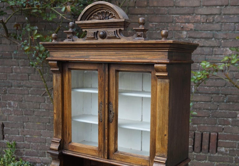 Hand-Carved Handmade Antique Miniature Country House Sideboard / Kitchen Cabinet Late 1800s For Sale