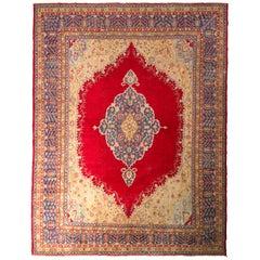 Handmade Antique Oushak Rug Red Blue and Gold Medallion Pattern