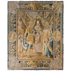 Handmade Antique Pictorial Tapestry in Beige-Brown and Blue Heraldic Design