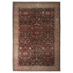 Handmade Antique Rug in Red and Beige All-Over Floral Pattern